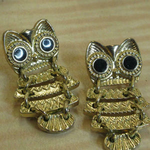 cutest articulated jointed owl earrings pierced